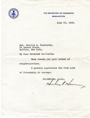 1928, President Herbert Hoover, signed letter re: nomination as President
