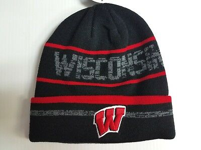low priced adbfd e68f7 Wisconsin Badgers TOW Knit Hat Effect Beanie Cuff Gray Stocking Cap NCAA