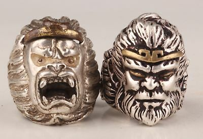 2 Tibetan Silver-Old Handmade Monkey King Statue Rare Collection Ring