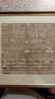 Antique Needlework Sampler Embroidery Dated 1782