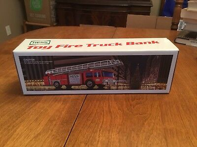 1986 Hess Toy Fire Truck Bank, New! Original Box. Out Of Box Only For Photos.