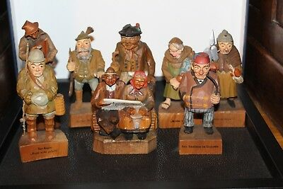 Eight Vintage Swiss Hand Carved Wooden Figures