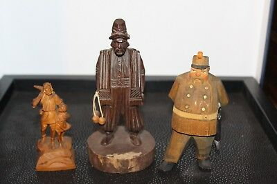 Three Unusual Vintage Hand Carved Wooden Figures