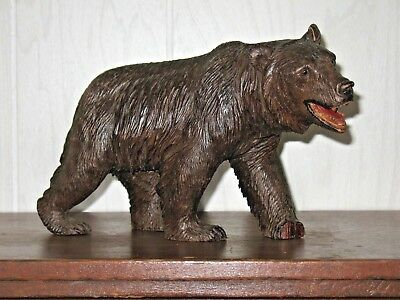 Black Forest Bear Antique Carved Wood Glass Eyes ( Brienz )