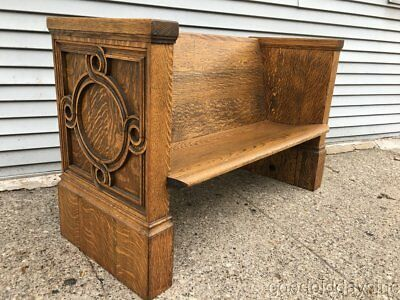 Nice Antique Quarter Sawn Oak Church Pew Circa 1900 from Chicago