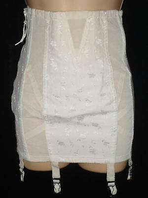 Vtg High-waist OPEN BOTTOM GIRDLE 6 Metal Garters Zipper Ivory Boned 26 Small