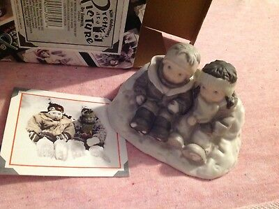 Kim Anderson's Bisque Figurine Snow Where Else I'D Rather Be w/Box 1997