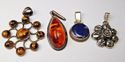 Lot Of 4 Vintage Sterling Silver And Gemstone Pendants