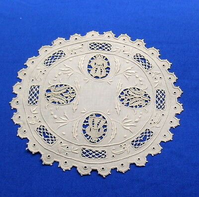 Rare Antique  Figural Hand Embroidered Lace Doily  Coaster