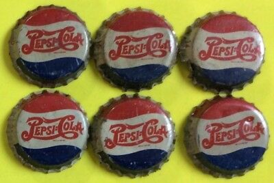 6  PEPSI COLA 1940s double dot bottle caps