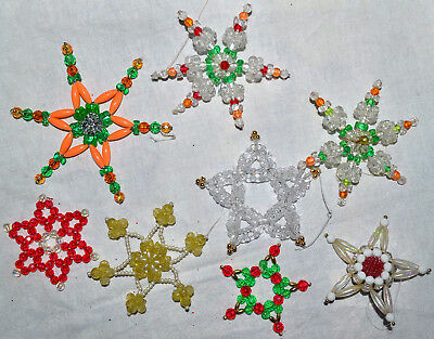 Vintage Lot Of 8 Handcrafted Colorful Bead Star Christmas Tree Ornament