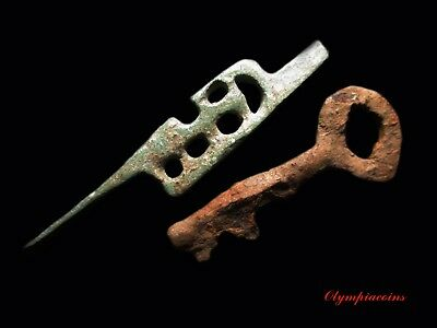 Ancient ROMAN **  IRON KEY & BRONZE DOOR MECHANISM **