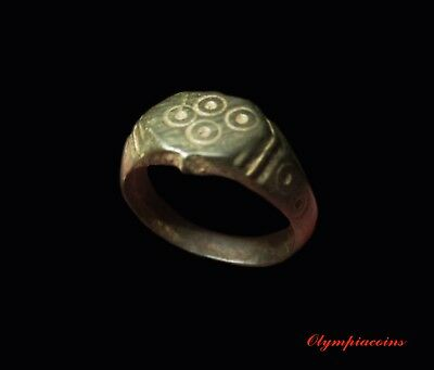 ** AMAZING ** Ancient Roman Bronze LEGIONARY  ** GAMBLERS CUBE ** ring