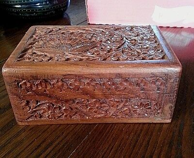 Antique Hand Carved Sandalwood? Hinged Jewelry Trinket Box