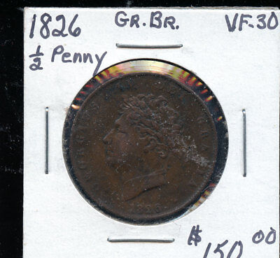 1826 Great Britain UK Half Penny VF30 HDC119