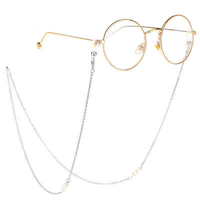 Silver Pearl Beads Eyeglass Cord Glasses Eyewear Spectacles Chain Holder GL224