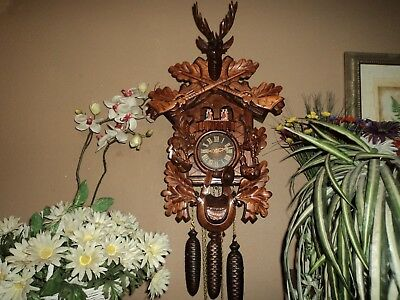 Large Beautiful German Carved 8 Day Musical Cuckoo Clock With Dancers