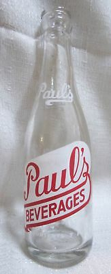 Vintage Paul's Beverages Soda Bottle very rare 7 oz NEW CASTLE, PA in red USA