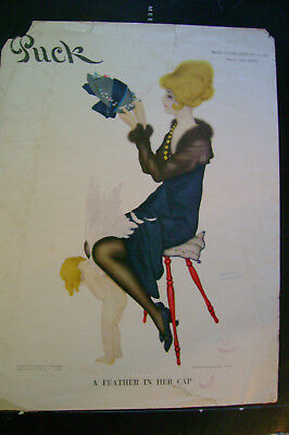 Antique Puck Magazine Cover Feather in Her Cap Raphael Kirchner Jan. 15 1916