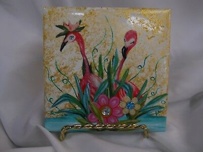 Flamingo Exotic bird Hand Painted Decoupage Tile Collectable