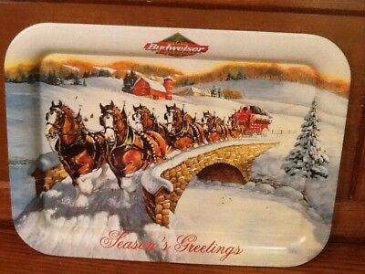 Budweiser Clydesdales Seasons Greetings 2000 Holiday Clydesdales Serving Tray
