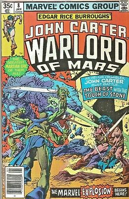 John Carter Warlord Of Mars #8  Touch Of Stone  Gil Kane  Marvel  1978  Nice!!!
