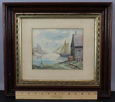 Antique Authentic BRIAN TRUELOVE Rockport Sailboat Harbor Watercolor Painting NR