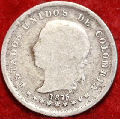 1875 Colombia 10 Centavos Silver Foreign Coin