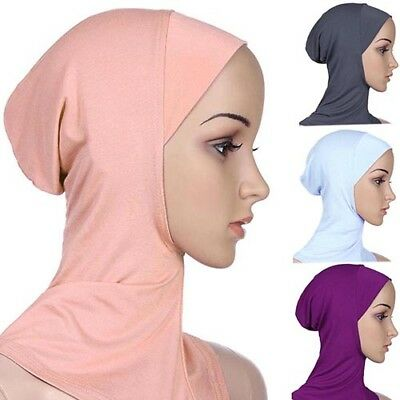 Muslim Full Cover Inner Hijab Cap Islamic Underscarf Neck Head Bonnet Hat Striki