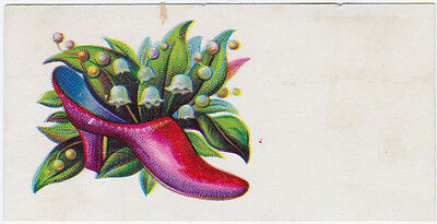 RARE 1800s SMALL SLIPPERS & FLOWERS VICTORIAN ERA TRADE CARD CP BARTLESON PA