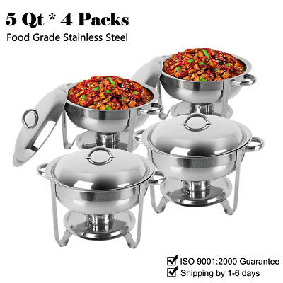 4 Pack Stainless Steel Chafer Round Chafing Dish Sets 5 QT Dinner Serving