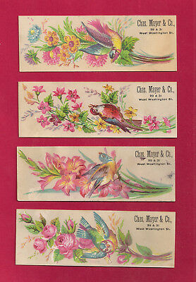 4 Indianapolis, IN Victorian Trade Card bird & flower advertising book marks, VF