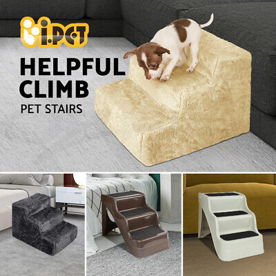 i.Pet Pet Dog 3 Steps Stair Portable Folding Non-slip Cat Ladder Ramp Soft Plush
