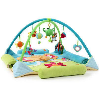 A37 Blue Baby Fitness Bodybuilding Frame Velvet Cotton Play Mat Activity Gym A