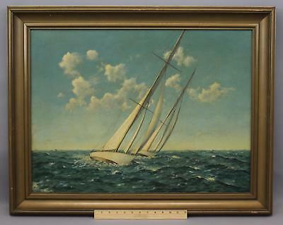 Large Antique Signed Maritime Oil Painting, Sailing YACHTS Ship Race, NR