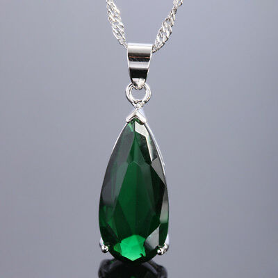 25Mm Green Emerald Silver Tone Pendant Necklace Lady Fashion Jewelry For Dress