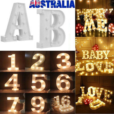 LED Letter Number Lamp Night Light 0-9 A-Z Home Party Wedding Birthday Decor