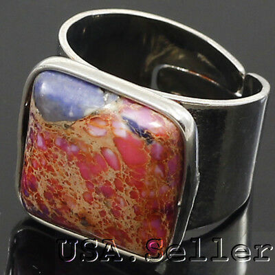 41CT 100% Large Russia Natural muti colored Jasper with adjustable hole ring