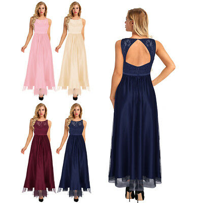 NEW Women Lace Formal Dress Wedding Bridesmaid Long Evening Party Ball Prom Gown