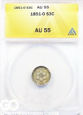 1851-O ANACS Three Cent Silver ANACS AU 55 ** Very Scarce New Orleans Mint Date