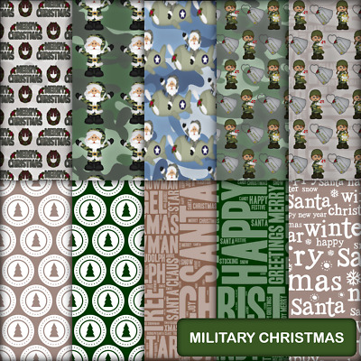 MILITARY CHRISTMAS SCRAPBOOK PAPER - 10 x A4 pages