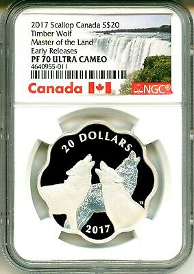 2017 Canada S$20 Scallop Timber Wolf Master Of The Land ER NGC PF70 Ultra Cameo