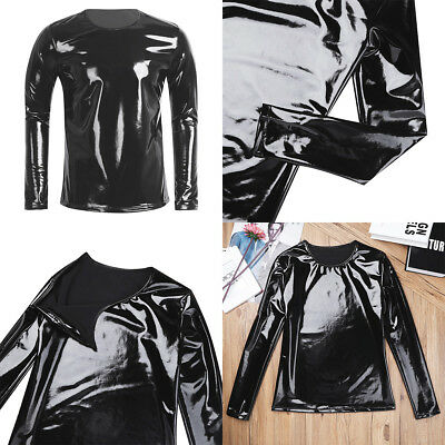 UK Men's Leather Lingerie Shirt T-shirt Crop Tops Costume Party Nightwear Blouse
