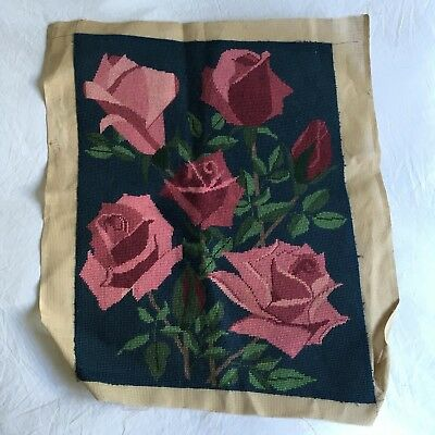 FANTASTIC Vintage floral Pink Rose Completed CUSHION Piece Tapestry Needlepoint