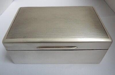 Handsome Clean Heavy English Antique 1946 Solid Sterling Silver Cigarette Box