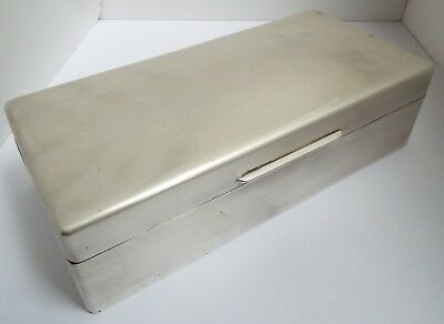 Handsome Large Heavy English Antique 1921 Solid Sterling Silver Cigarette Box