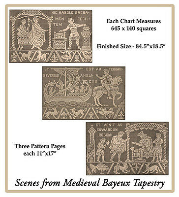 1914 Filet Lace Chart Pack - Medieval Bayeux Tapestry