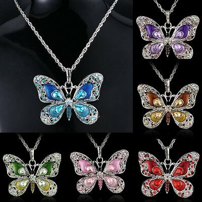 New Butterfly Crystal Pendant Necklace Sweater Jewellery Christmas Family Gift