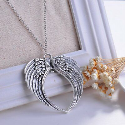 2019 Hot Unisex Fashion Jewelry Goth Retro Angel Wings Pendants Chain Necklace