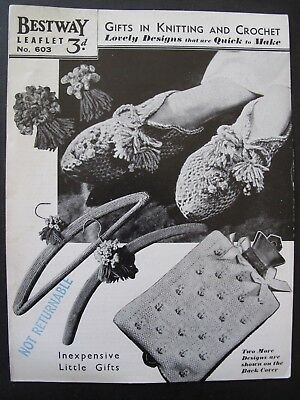 BESTWAY Leaflet No. 603 -GIFTS IN KNITTING and CROCHET – original 1940s pattern